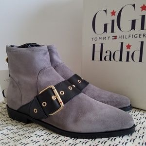 897b8aed5ace Tommy Hilfiger Shoes - Tommy Hilfiger GIGI HADID Grey Ankle Flat Boots
